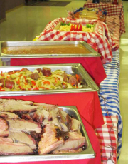 BBQ buffet with smoked brisket and sausage